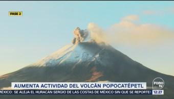 Popocatépetl emite 5 explosiones durante la mañana