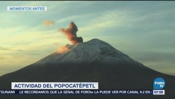 Popocatépetl emite dos fumarolas durante mañana del lunes