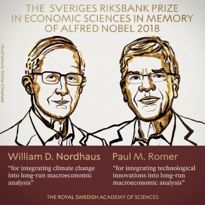 William Nordhaus y Paul Romer ganan Premio Nobel de Economía 2018