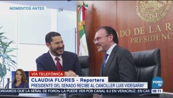 Presidente del Senado recibe al canciller Luis Videgaray