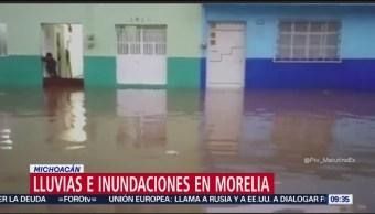 Registran lluvias e inundaciones en Morelia, Michoacán
