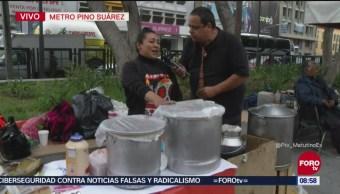 Repor entrevista a vendedora de tamales en Pino Suárez