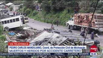Reportan 10 muertos en accidente vehicular en Michoacán