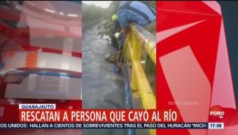 Rescatan Persona Cayó Río León Guanajuato