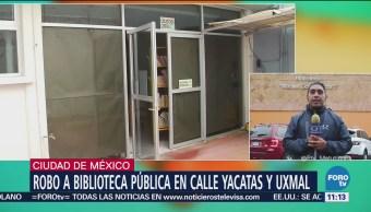 Roban biblioteca pública en colonia Narvarte