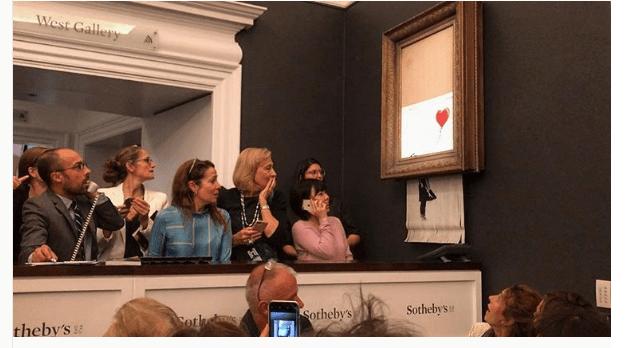 Banksy autodestruye su pieza Después venderla millones subasta