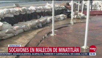 Se abren socavones en malecón de Minatitlán