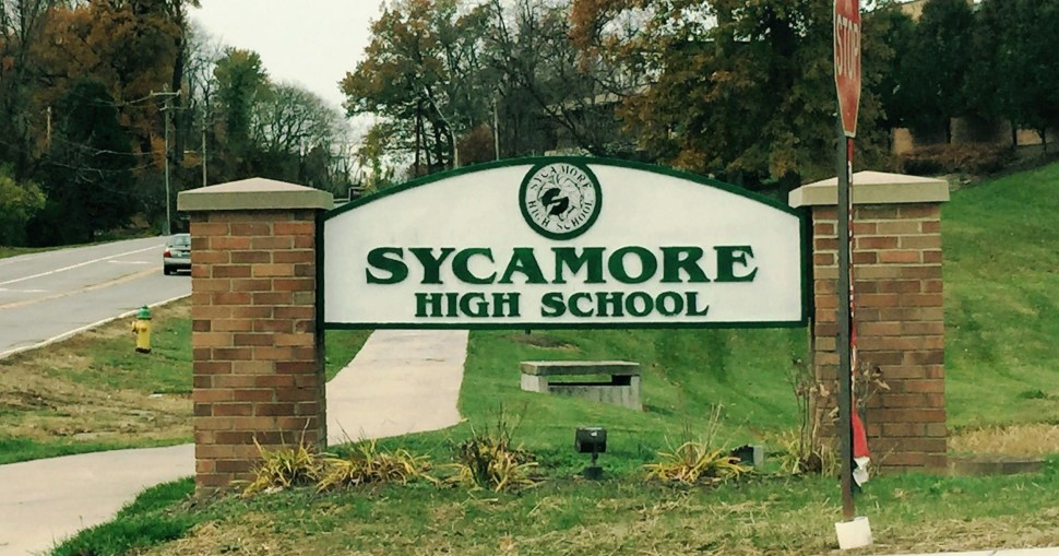 Sycamore High School Sign, # half an hour from downtown Cincinatti, Ohio (cincinnati.com)
