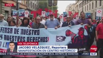 Sindicato de la UNAM marcha por vialidades del Centro Histórico