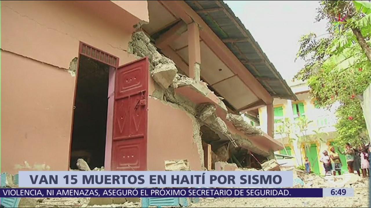 Suman 15 muertos por el sismo del fin de semana en Haití