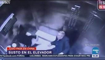 Todo pasa en China Elevador se desploma