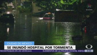 Tormenta deja inundación en Hospital de Ticomán