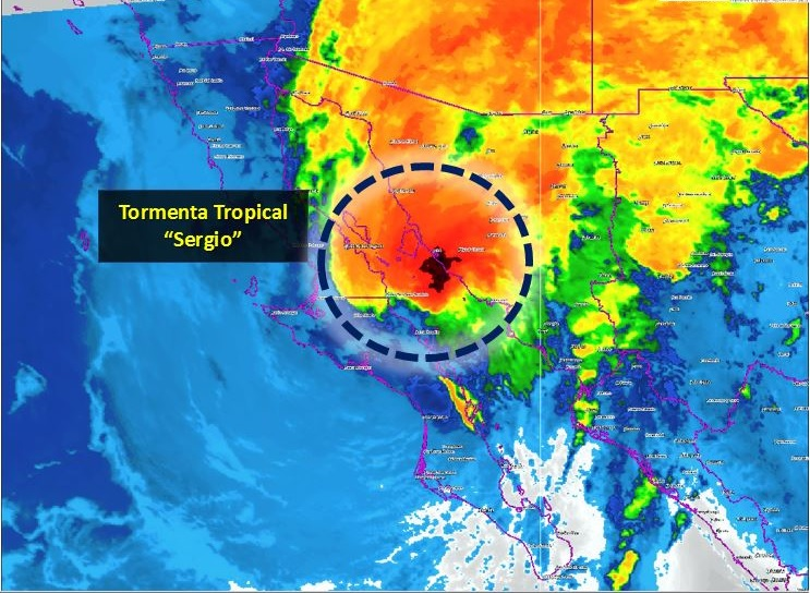 Tormenta 'Sergio' avanza sobre el Golfo de California