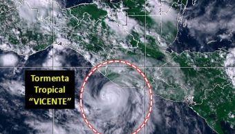 tormenta tropical vicente baja presion afectan costas guerrero