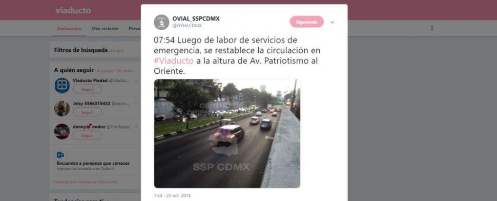Tráiler queda atorado en Viaducto y Patriotismo