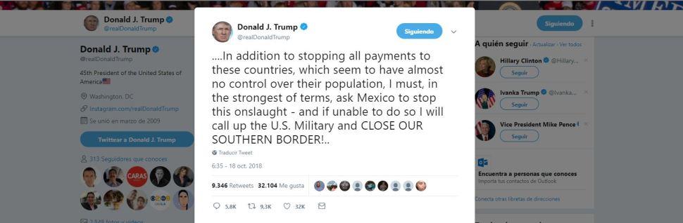 Trump amenaza con cerrar la frontera sur con Méxic