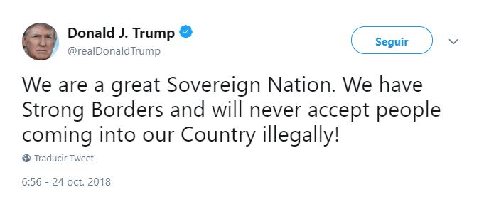 Trump tuitea sobre migración ilegal. (@realDonaldTrump)