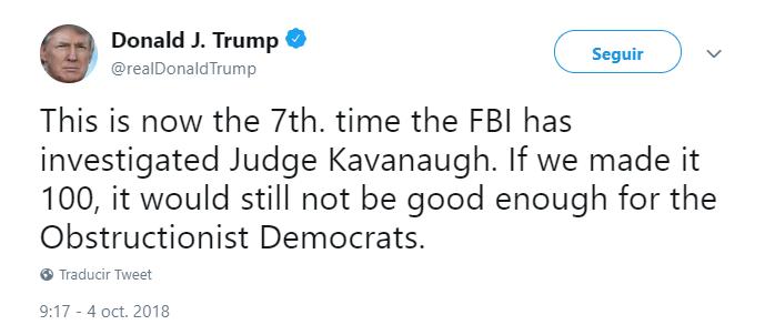 Trump volvió a defender a Kavanaugh, a través de Twitter. (@realDonaldTrump)