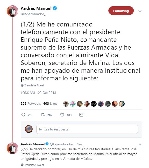 AMLO nombra a José Rafael Ojeda para encabezar Semar