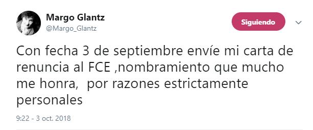 Tuit de Margo Glantz donde explica que declinó la oferta para dirigir el Fondo de Cultura Económica