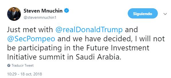 EU cancela participación en foro de inversiones de Arabia Saudita