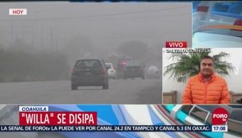 Willa se desplaza sobre Coahuila