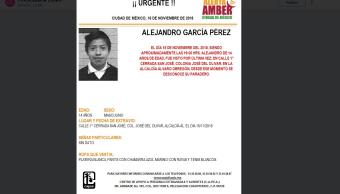 Alerta Amber: Buscan a Alejandro García Pérez, de 14 años