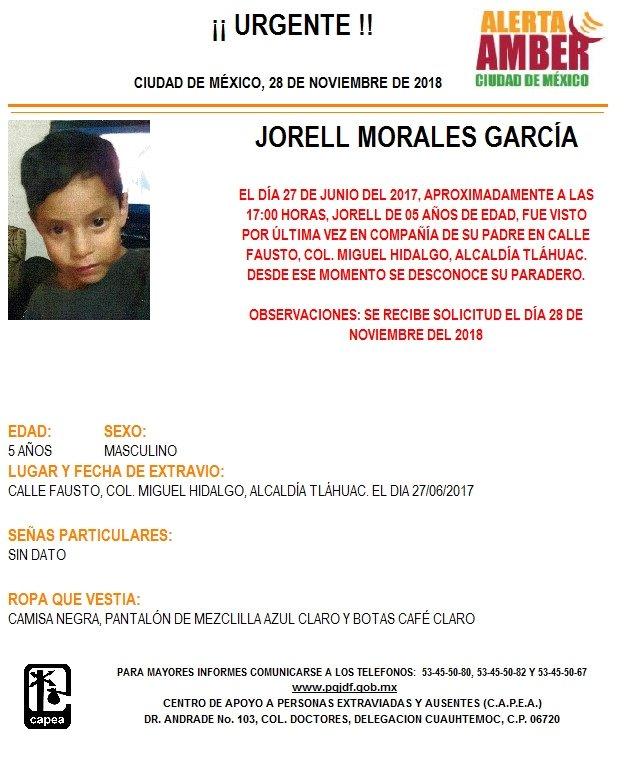 Alerta Amber para localizar a Jorell Morales
