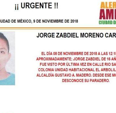 Alerta Amber: Ayuda a localizar Jorge Zabdiel Moreno Carrasco