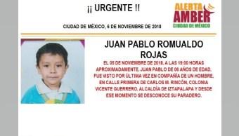 Alerta Amber para localizar a Juan Pablo Romualdo Rojas