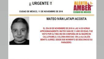 Alerta Amber Mateo Iván Latapi Acosta