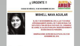 Alerta Amber para localizar a Mishell Nava Aguila