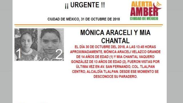Alerta Amber para localizar a Mónica Araceli y Mia Chantal