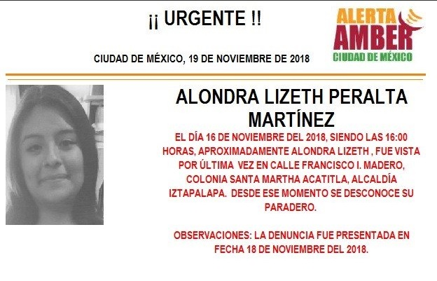Alerta Ámber: Piden ayuda para localizar a Alondra Lizeth Peralta Martínez