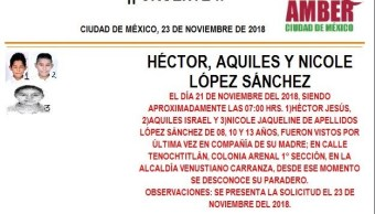Alerta Ámber: localizar a Héctor, Israel y Nicole López