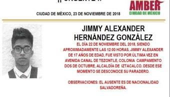 Alerta Ámber: ayuda para localizar a Jimmy Alexander Hernández González