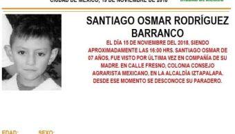 Alerta Amber para localizar a Santiago Osmar Rodríguez Barranco, de 7 años