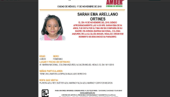 Alerta Amber Buscan a Sarah Ema Arellano Ortines, de 4 años