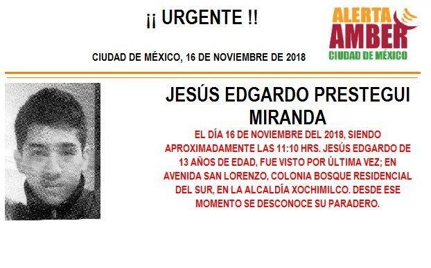 Alerta Amber: Buscan a Jesús Edgardo Prestegui Miranda