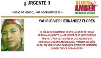 Alerta Amber: Piden ayuda para localizar a Yahir Idivier
