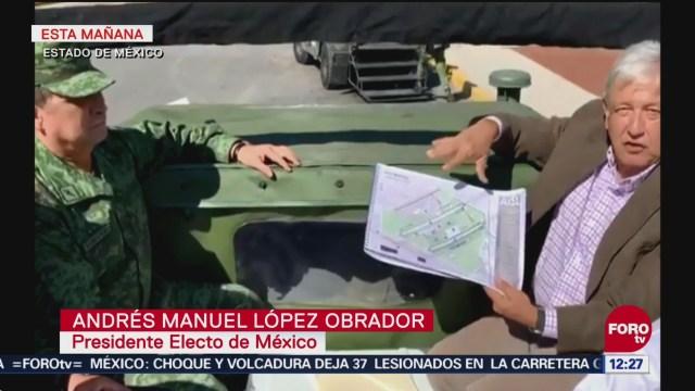 AMLO visita el aeropuerto de Santa Lucía, Estado de México