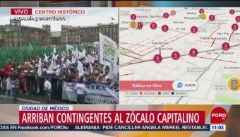 Arriban contingentes de campesinos al Zócalo de la CDMX