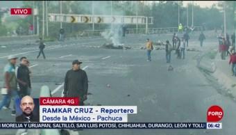 Bloqueo en la México-Pachuca cumple siete horas