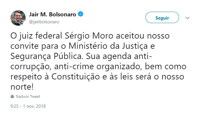 Bolsonaro tuiteó sobre la aceptación de Moro para el ministerio de Justicia. (@jairbolsonaro)