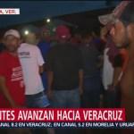 Caravana migrante pernocta en Veracruz