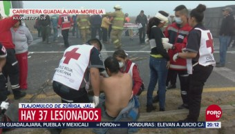 Choque Camión Pasajeros 37 Lesionados Jalisco