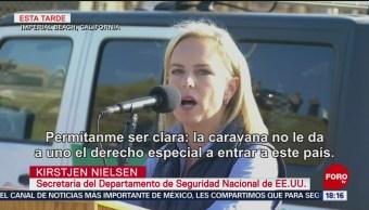 Cientos de delincuentes viajan en caravana migrante, dice Kirstjen Nielsen