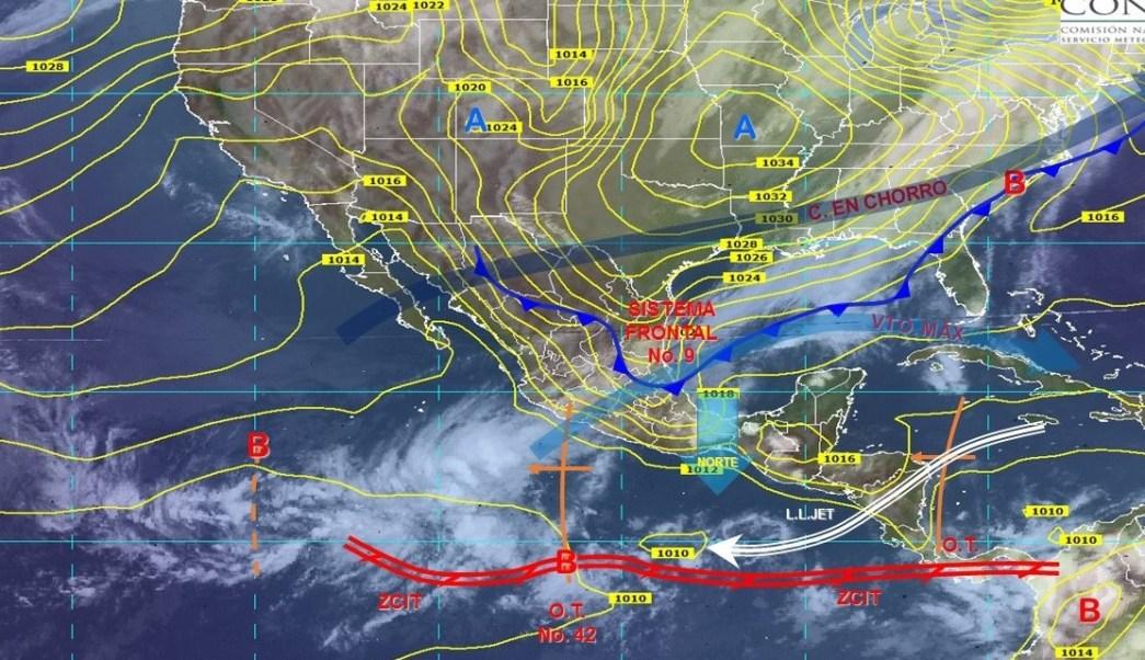 Frente frío número 9 ocasionará fuertes lluvias en México