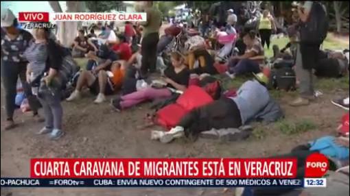 Cuarta caravana migrante descansa en Veracruz