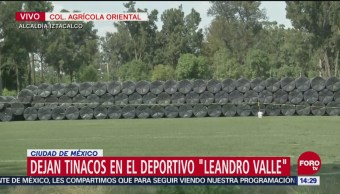 Dejan tinacos en deportivo 'Leandro Valle', de Iztacalco